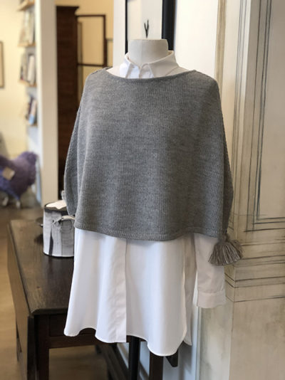 George Lifestyle, clothing, apparel, gray sweater, womens white collared shirt